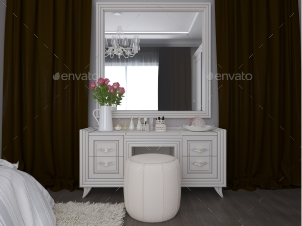 3D Illustration of a White Bedroom Interior Design - 3D Backgrounds
