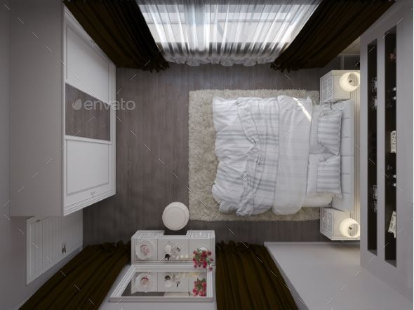 GraphicRiver 3D Render of a White Bedroom Interior Design 21138786