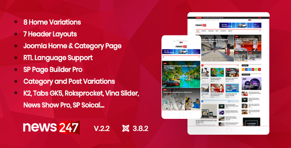 News247 - News/Magazine Newspaper Joomla Template