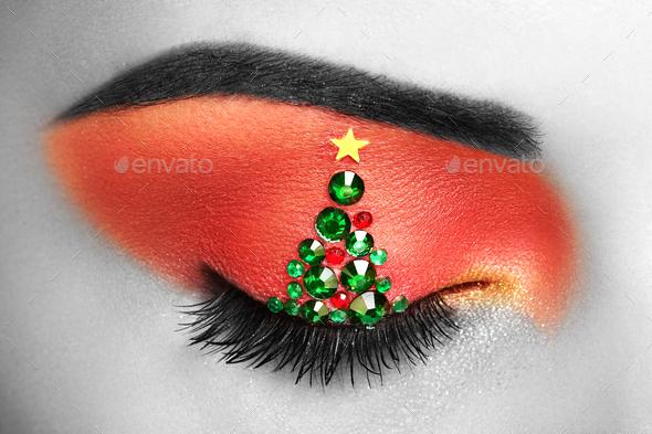 Eye girl makeover christmas tree - Stock Photo - Images