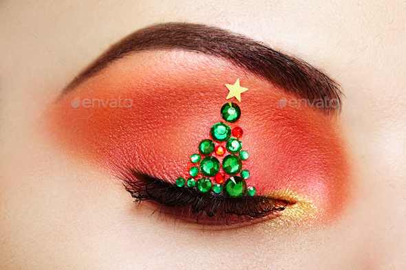 Eye girl makeover christmas tree - Stock Photo - Images