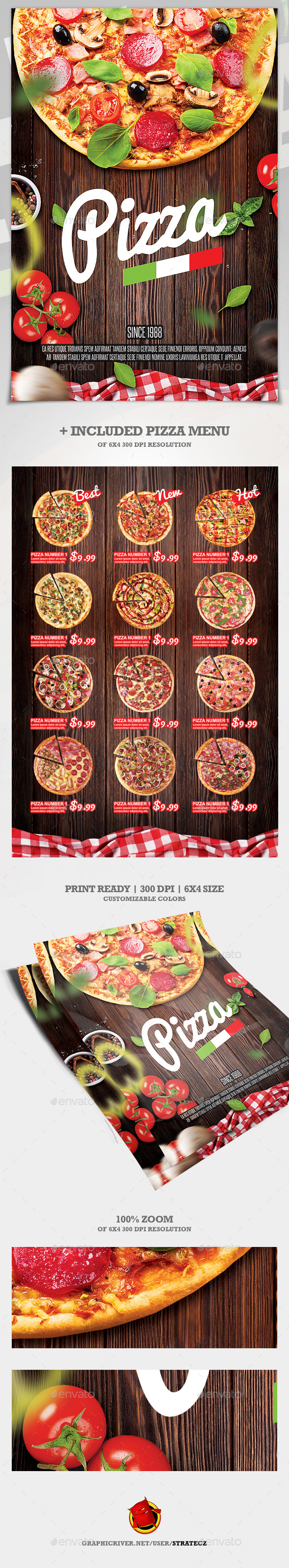 GraphicRiver Pizza Flyer & Pizza Menu 21139221