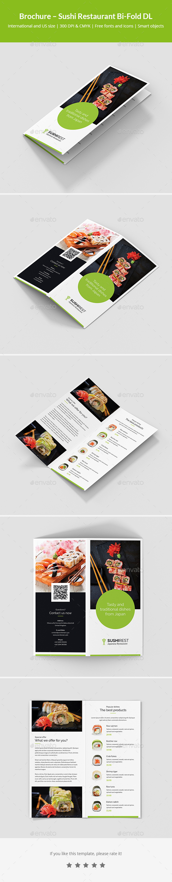 GraphicRiver Brochure Sushi Restaurant Bi-Fold DL 21139245