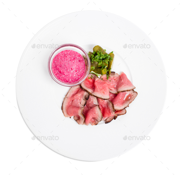 Sliced roast beef with pickles. - Stock Photo - Images