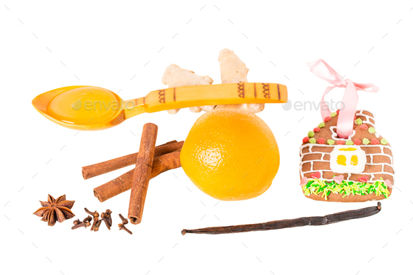 Fruits and spices for christmas mulled wine. - Stock Photo - Images