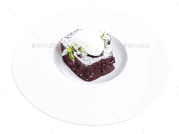 Chocolate brownie cake with vanilla ice cream. - Stock Photo - Images