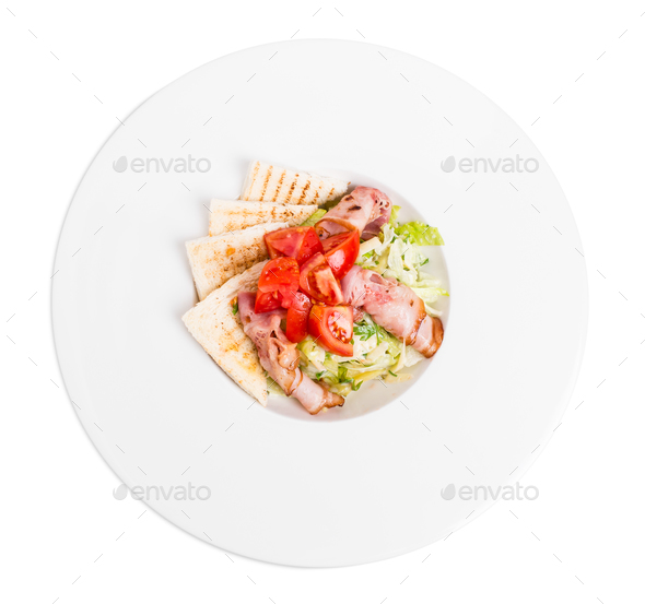 Salad with fresh herb mix and bacon. - Stock Photo - Images