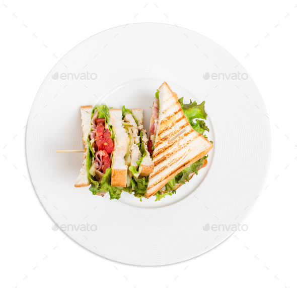 Traditional grilled club sandwich with chicken. - Stock Photo - Images