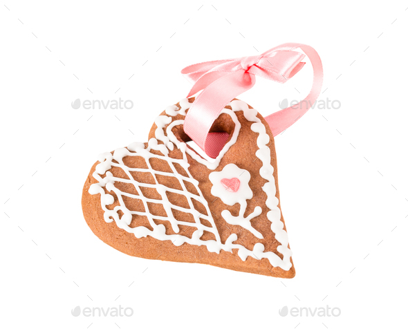 Christmas cookie in shape of heart. - Stock Photo - Images