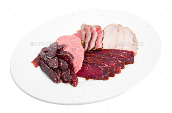 Delicious assorted meat platter. - Stock Photo - Images
