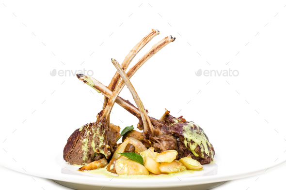Grilled lamb racks with green butter. - Stock Photo - Images
