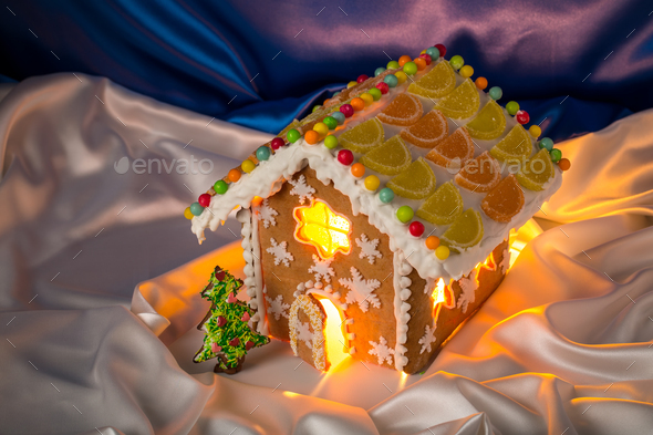 Christmas glazed gingerbread house. - Stock Photo - Images