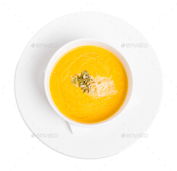 Pumpkin cream soup with grated cheese. - Stock Photo - Images