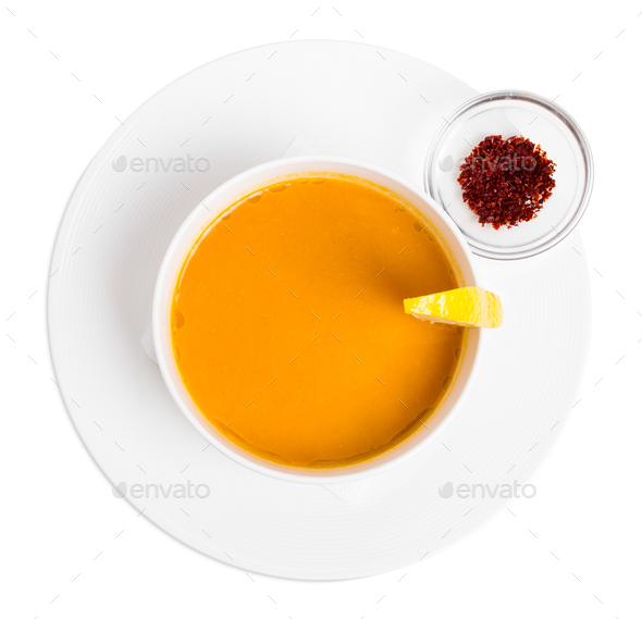 Lentil soup cream with lemon and paprika. - Stock Photo - Images