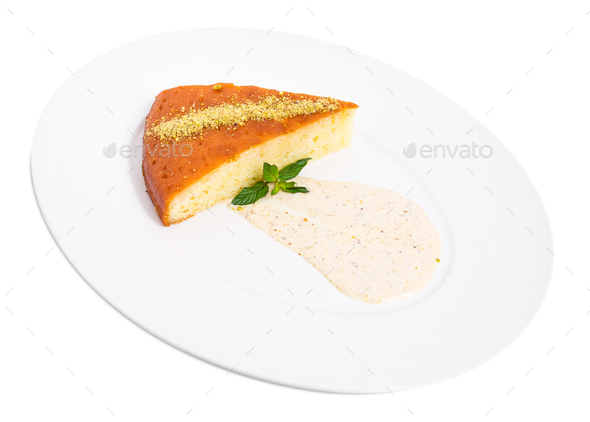 Sweet lemon pie with pistachio mousse. - Stock Photo - Images