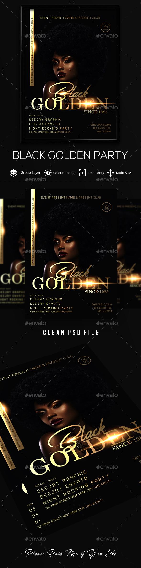GraphicRiver Golden Black Party Flyer 21139348