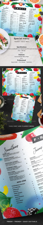 Juice Drinks Menu - Food Menus Print Templates