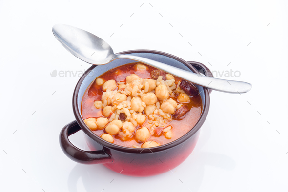 real homemade chickpea stew - Stock Photo - Images