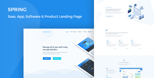 ThemeForest Spring Software App SaaS & Product Showcase Landing Page 21006158