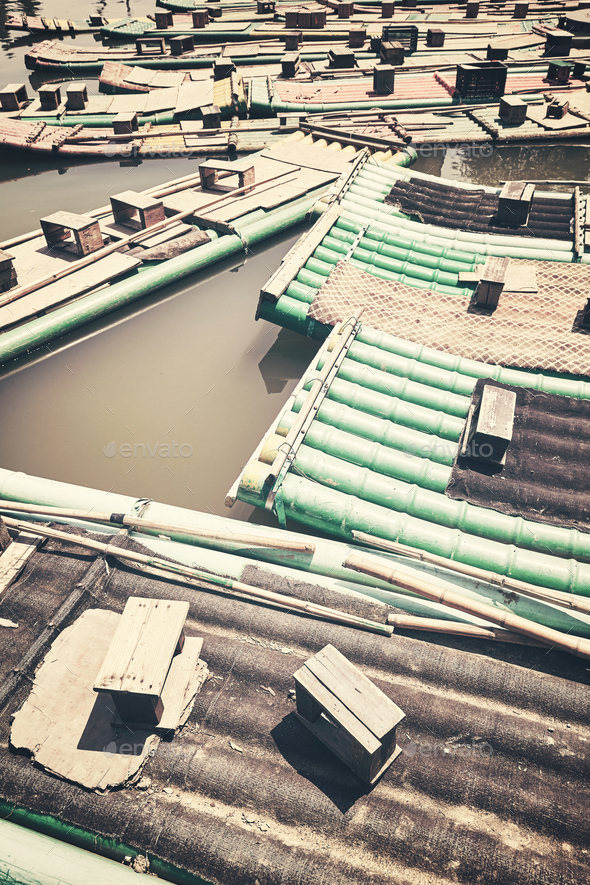 Color toned picture of bamboo rafts, China. - Stock Photo - Images
