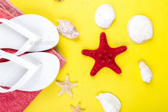 Set of Woman's Things Accessories to Beach Season. - Stock Photo - Images