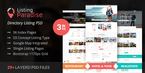 ThemeForest Listing Paradise Directory Listing PSD Template 21139762
