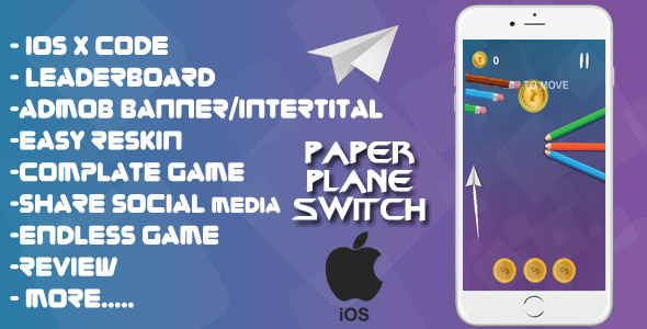 Paper Plane Switch - XCODE + Admob + Complete Game + Review + Share + Endless Game - CodeCanyon Item for Sale