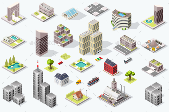 GraphicRiver Isometric City Quality Vector Set 21139809