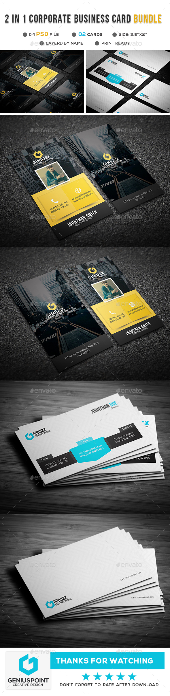 GraphicRiver 2 in 1 Corporate Business Card Bundle 21139835