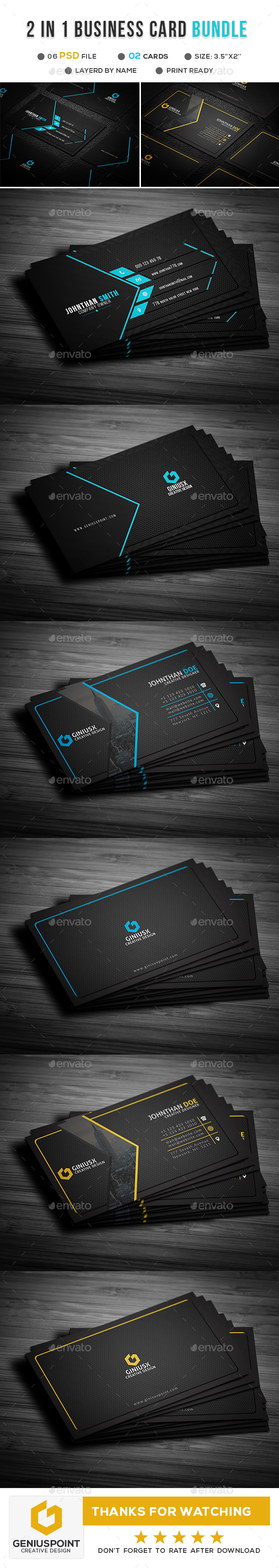GraphicRiver 2 in 1 Business Card Bundle 21139867