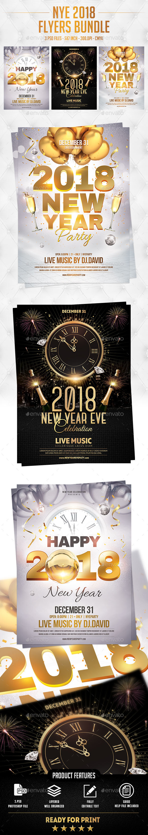 GraphicRiver NYE 2018 Flyers Bundle 21139989