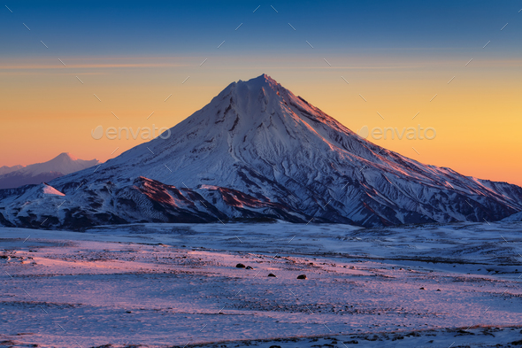 Stunning Winter Mountain Landscape of Kamchatka Peninsula at Sunrise - Stock Photo - Images