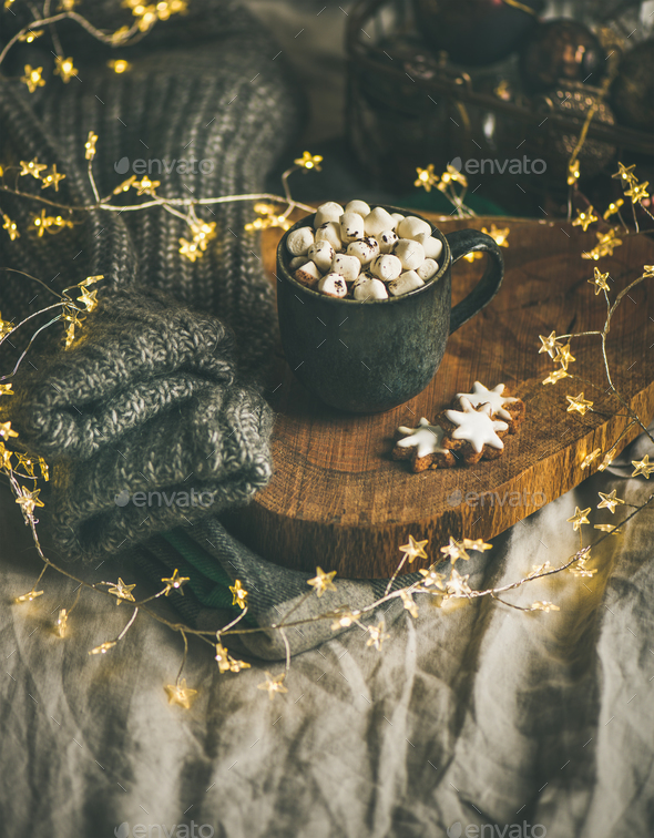 Christmas winter hot chocolate with marshmallows and cookies - Stock Photo - Images