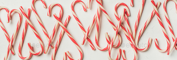 Christmas holiday candy cane pattern, texture and background, wide composition - Stock Photo - Images