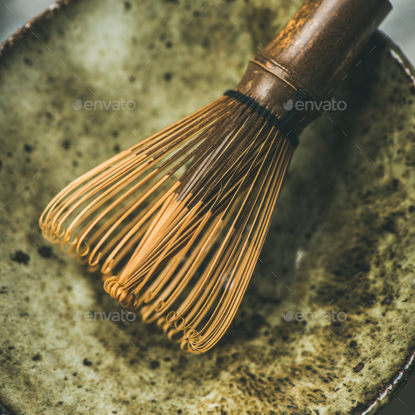 Chasen bamboo whisk, Chawan bowl over grey background, square crop - Stock Photo - Images