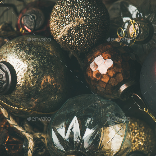 Vintage Christmas or New Year holiday decoration balls, square crop - Stock Photo - Images
