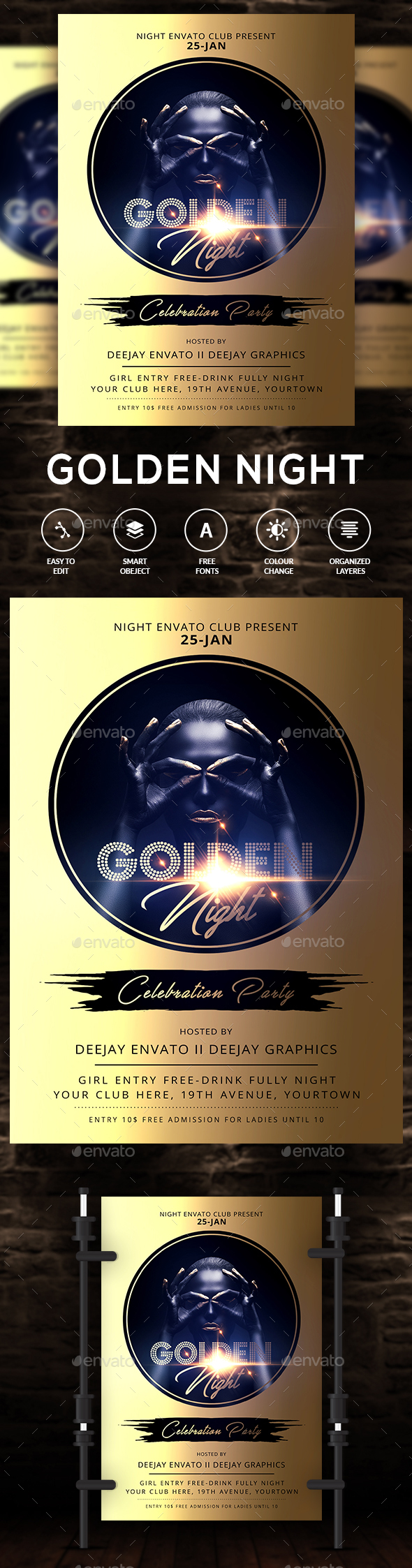 GraphicRiver Golden Black Party Flyer 21140129