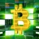 Gold Bitcoin Sign Against a Green Monitor Render - VideoHive Item for Sale