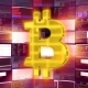 Gold Bitcoin Sign Against a Purple Mining Farm - VideoHive Item for Sale