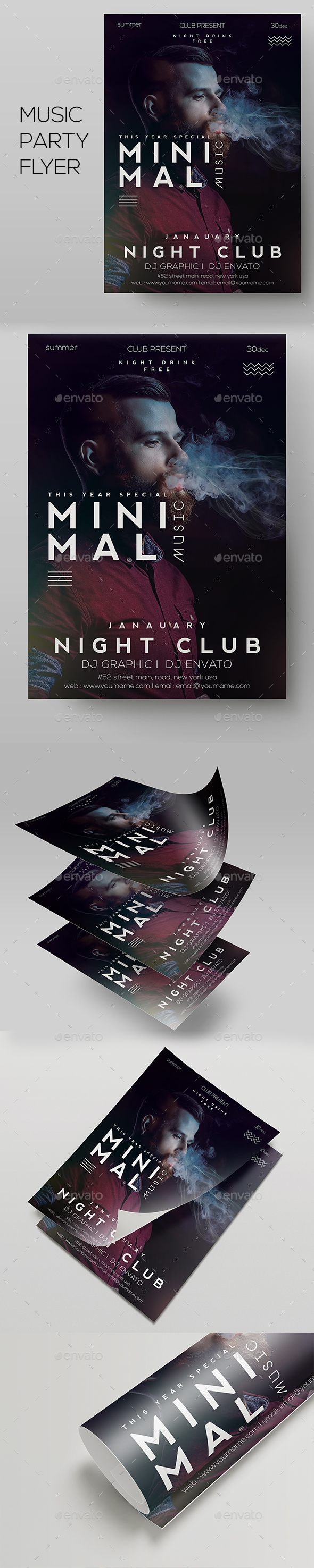 Deep Club Party | Minimal Flyer Template - Clubs & Parties Events