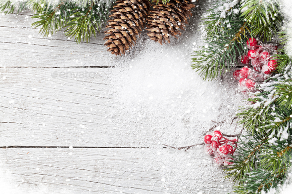 Christmas background with snow fir tree - Stock Photo - Images