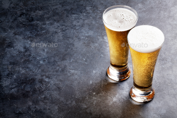 Lager beer glasses - Stock Photo - Images