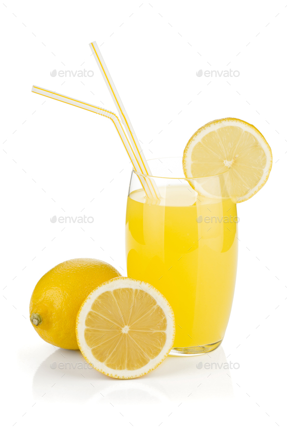 Lemon juice glass and fresh lemons - Stock Photo - Images