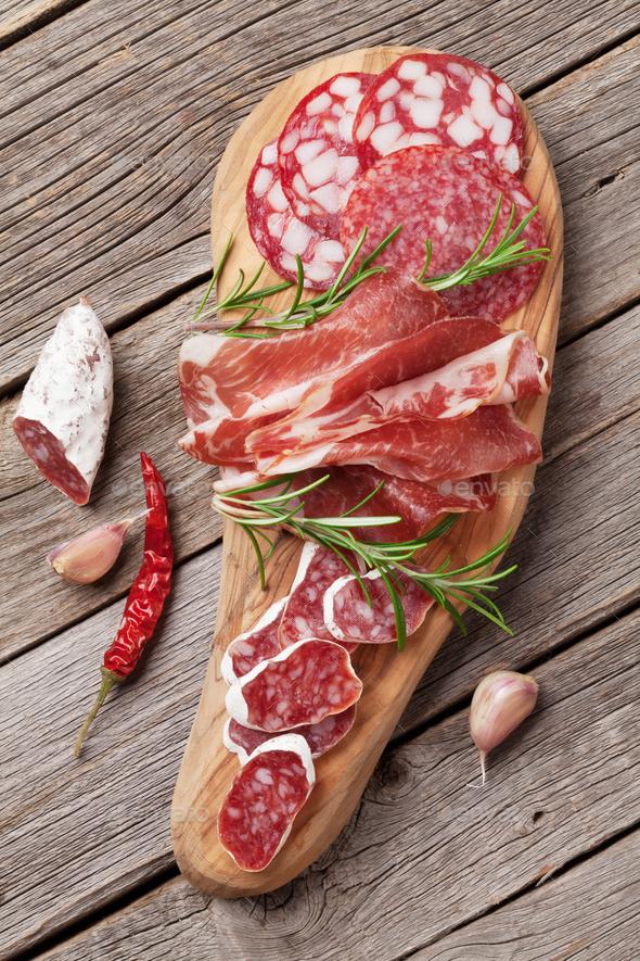 Salami, sliced ham, sausage, prosciutto - Stock Photo - Images