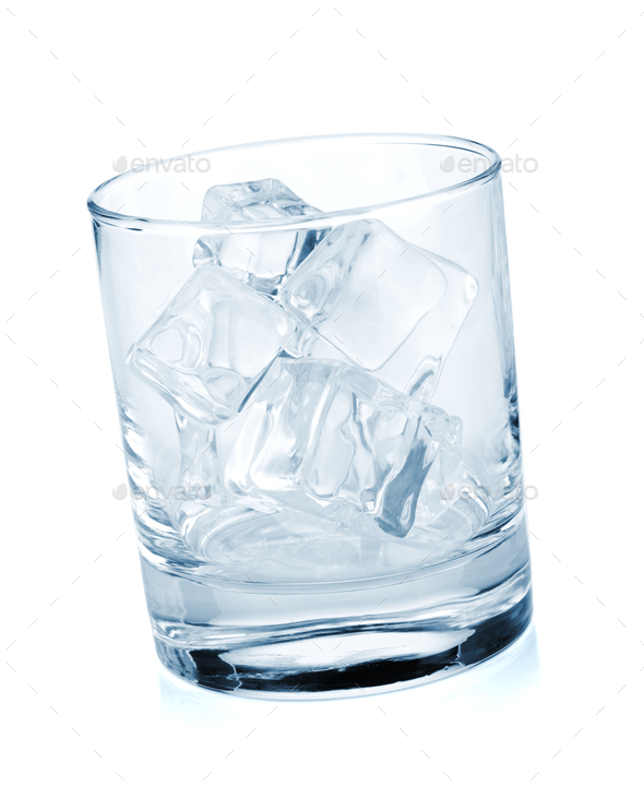Glass with ice cubes - Stock Photo - Images