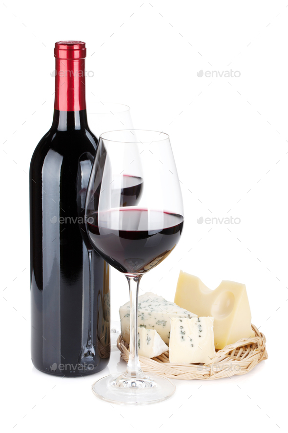Red wine and cheese - Stock Photo - Images