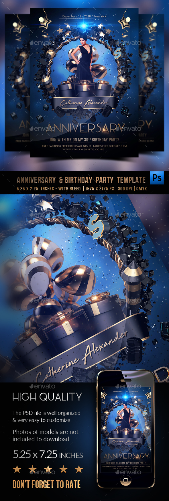 GraphicRiver Anniversary and Birthday Party Flyer 21140439