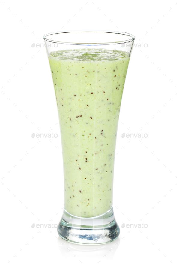 Kiwi milk smoothie - Stock Photo - Images