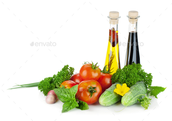 Ripe vegetables and herbs - Stock Photo - Images