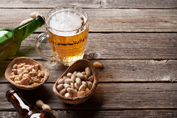 Lager beer and nuts - Stock Photo - Images